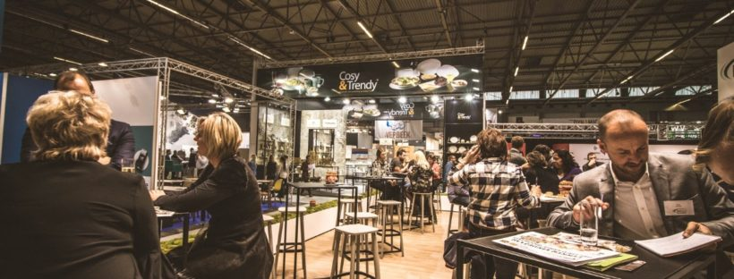 Crowded cafe at a trade show